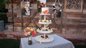 Wedding cake with vintage barn backdrop DenMar Estate