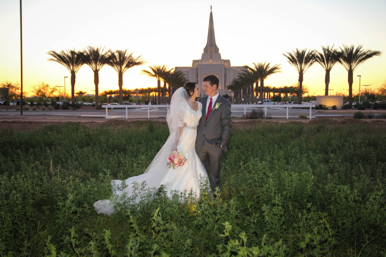 Gilbert Temple Wedding Photo Sunset